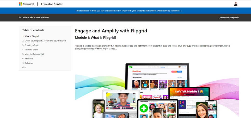Screenshot of the Microsoft Education Centre page on Flipgrid