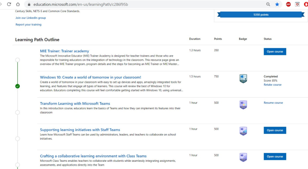 Screenshot of Microsoft Education Centre Learning Path Outline