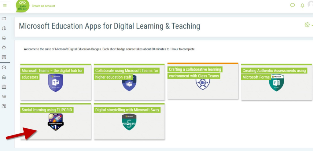 Screenshot of Microsoft Education Apps for Digital Learning & Teaching in CPD Online