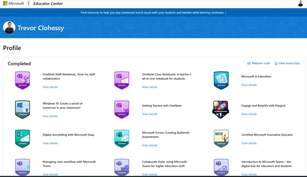 Screenshot of Trevor's Microsoft Education Centre Profile Page